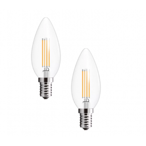 CLEAR E14 Candle 2-Pack of LED Bulbs 10588-2