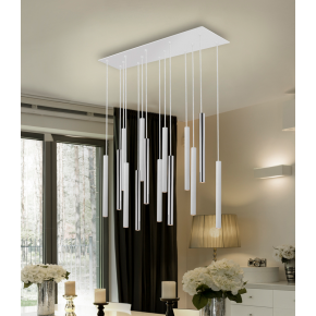 Polo 14 Light Pendant White/Chrome Dimmable