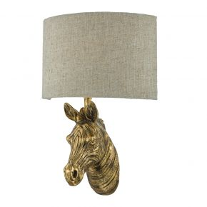 Abby Wall Light Gold C/W Natural Linen Shade