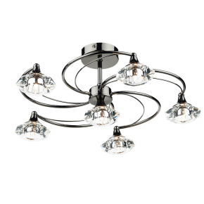 Luther 6 Light Semi Flush Black Chrome Crystal