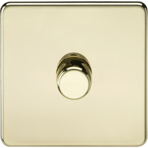 Screwless 1 Gang Dimmer Switch Polished Brass