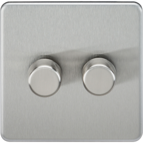 Screwless 2 Gang Dimmer Switch Brushed Chrome