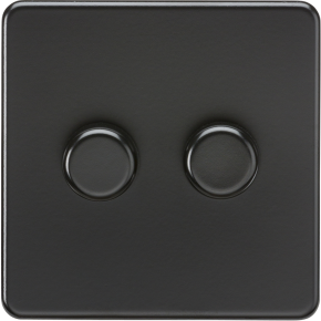 Screwless 2 Gang Dimmer Switch Black Matt