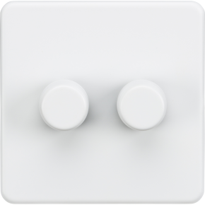 Screwless 2 Gang Dimmer Switch Matt White
