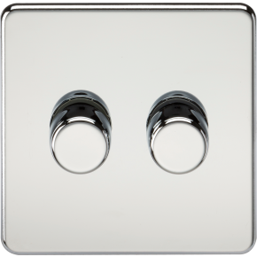 Screwless 2 Gang Dimmer Switch Polished Chrome