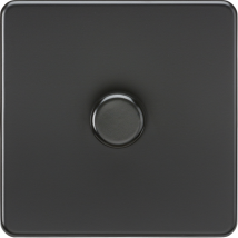 Screwless 1 Gang Dimmer Switch Matt Black