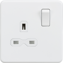 Screwless 1 Gang Socket Matt White