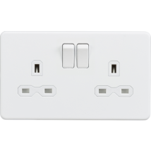 Screwless 2 Gang Socket Matt White